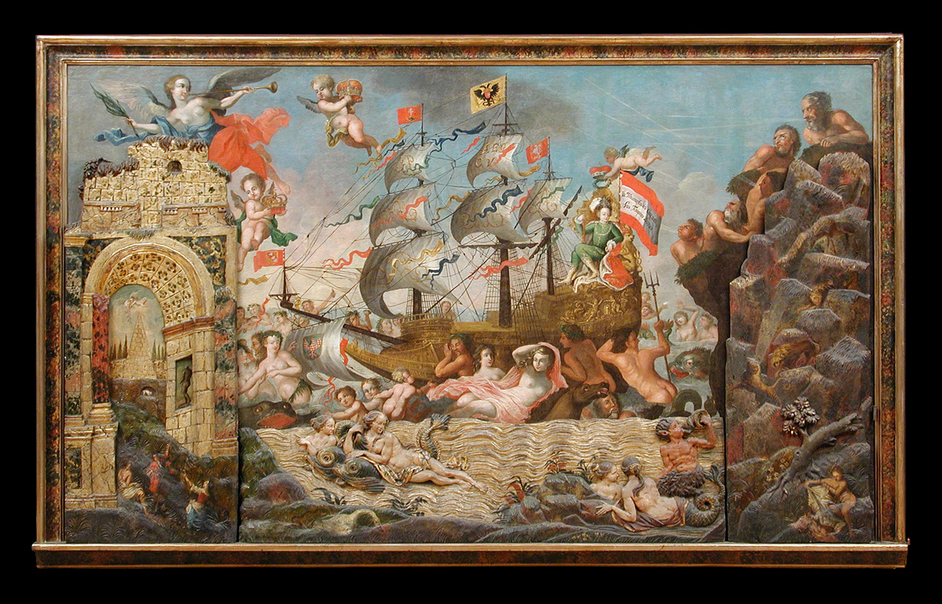 Olympia International Fine Art & Antiques Fair - Wooden panel from a group of three early 18th century paintings depicting an allegorical representation of the Habsburg Dynasty