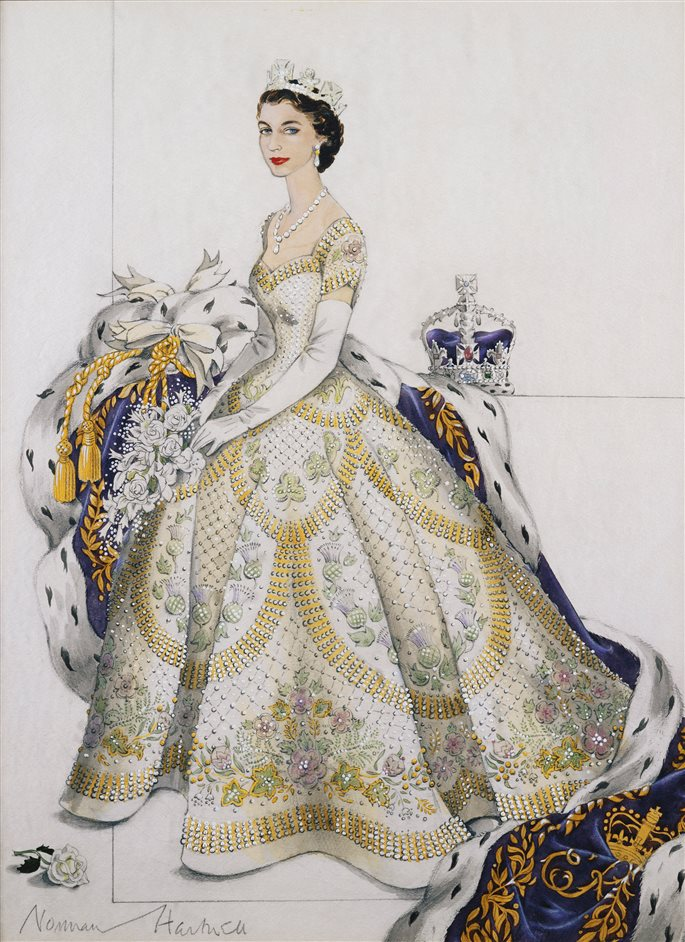 The Queen's Coronation 1953 - Her Majesty The Queen in her Coronation Dress, 1953, Norman Hartnell. Royal Collection Trust/All Rights Reserved