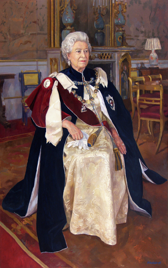Royal Society of Portrait Painters Exhibition - Jeff Stultiens, Her Majesty Queen Elizabeth II, 2003, to mark the 50th anniversary of her coronation
