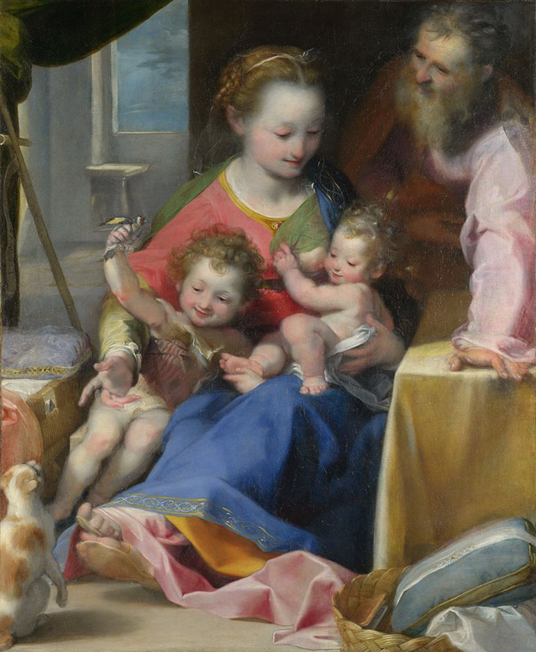 Barocci: Brilliance and Grace - Federico Barocci, The Madonna and Child with Saint Joseph and the Infant Baptist ('La Madonna del Gatto'), probably about 1575 © The National Gallery, London