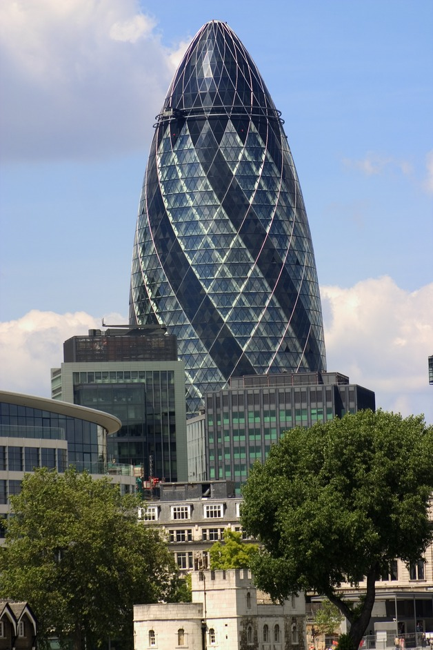 The Swiss Re Tower (aka 'The Gherkin' or '30 St Mary Axe ')