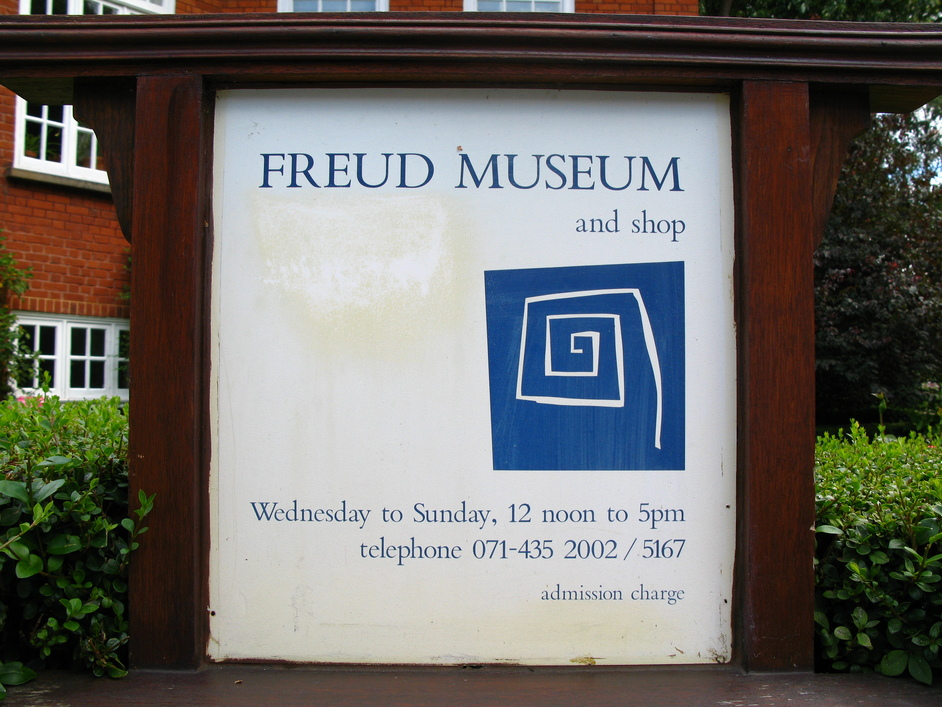 "Freud Museum - ""Wednesday to Sunday, 12noon to 5pm; telephone 071-435 2002/5167"""
