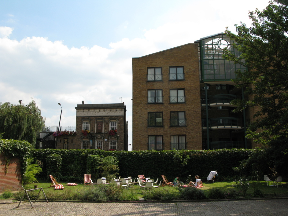 Wapping Wall - The lawn outside the building
