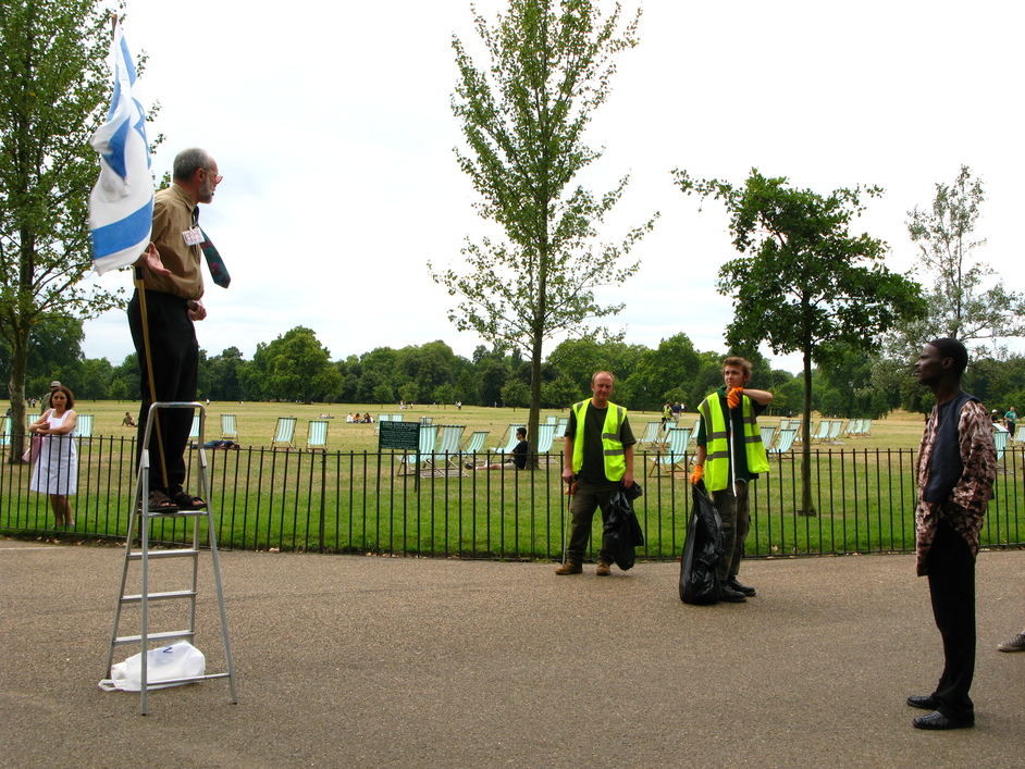 Speakers' Corner - Even the park employees are taking part in the discussions.