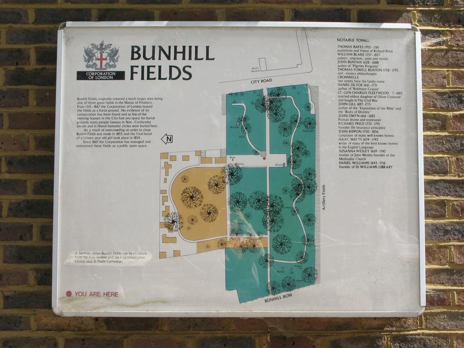 Bunhill Fields - Map of Bunhill Fields
