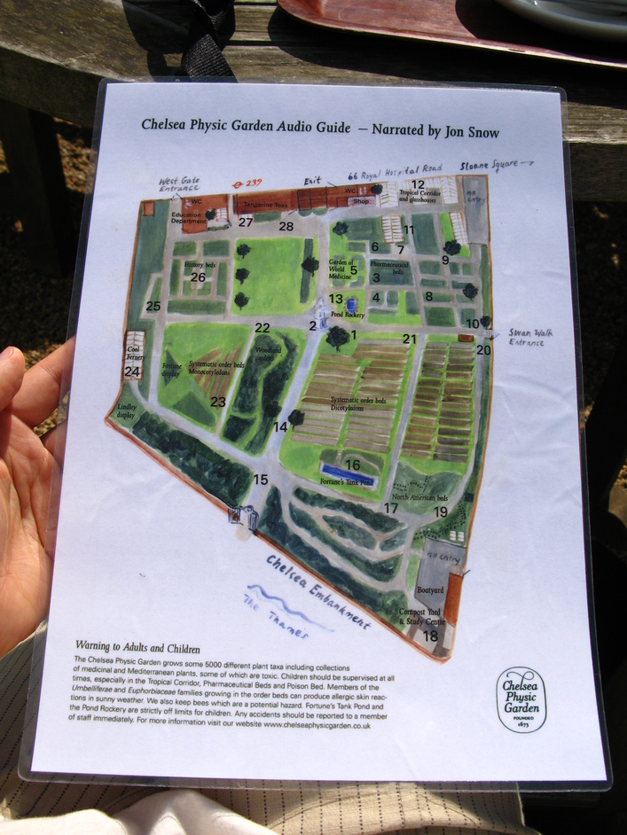 Chelsea Physic Garden - Map of the Chelsea Physic Garden