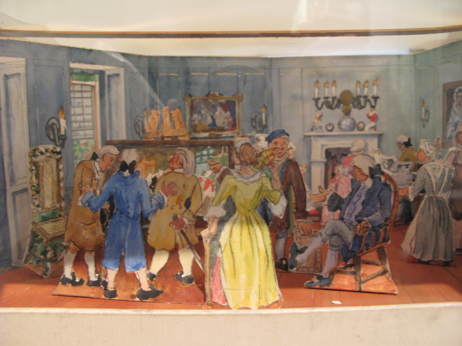 Hogarth's House - Artist's cardboard rendition of a typical scene in Hogarth's House.