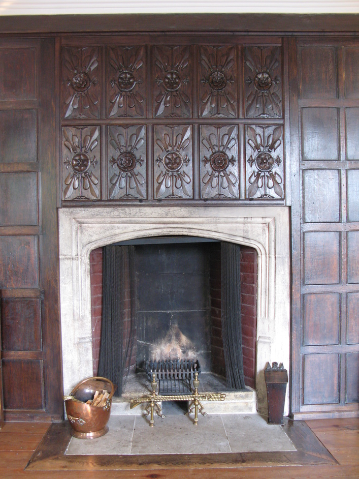 Sutton House - Fireplace with the Tudor Rose motif above