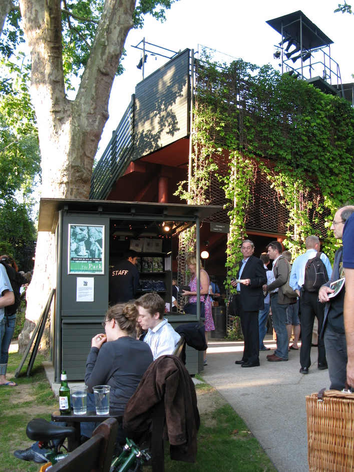 Open Air Theatre, Regent's Park - The sales booth - buy programs, cushions and blankets here.