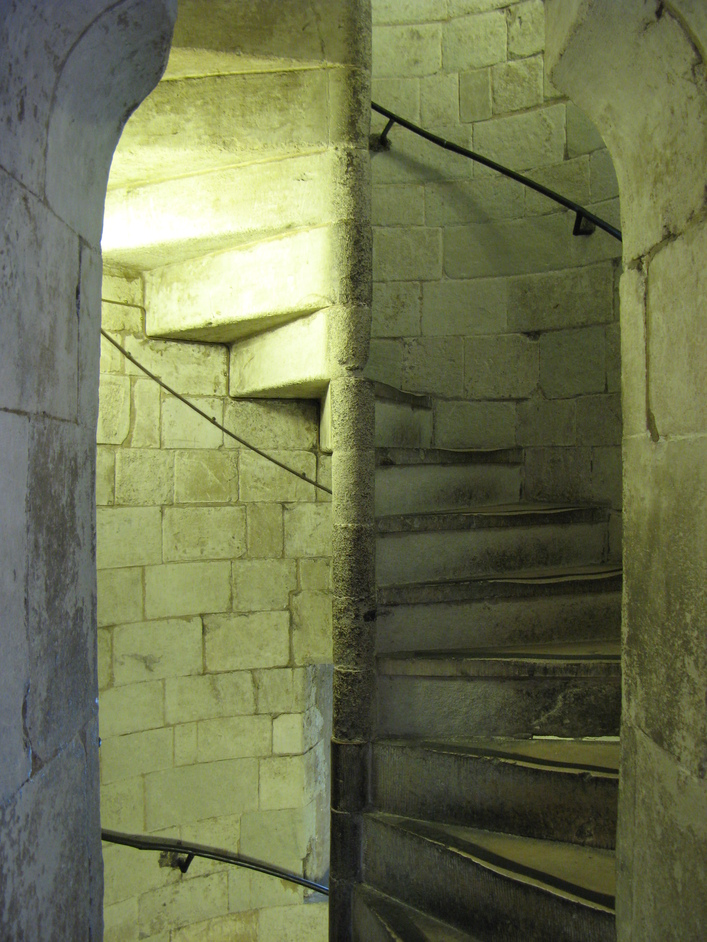 Jewel Tower - The original stairs of the Jewel Tower - you can tell from how worn it is.