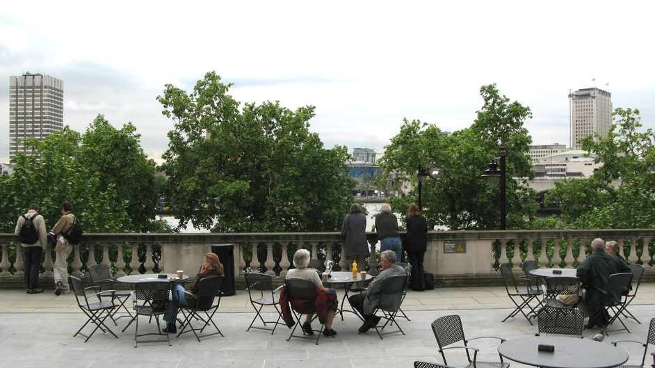 Somerset House - Alfresco seating - facing the River Thames.