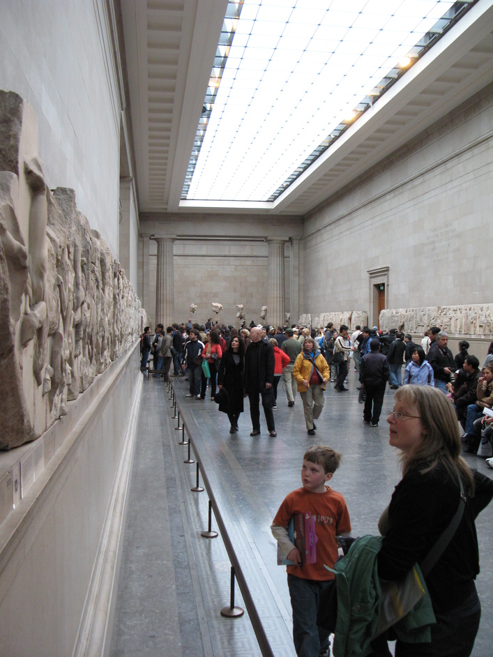 British Museum - Examining part of the Elgin Marbles, also known as the Parthenon Sculptures