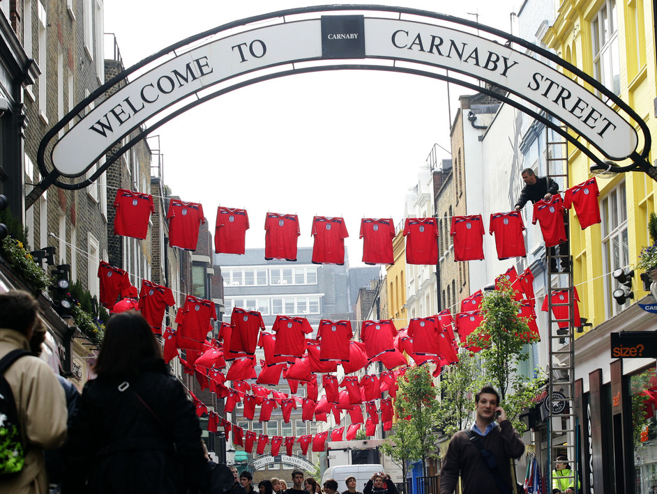 Carnaby Street - St George's Day Umbro England shirts
