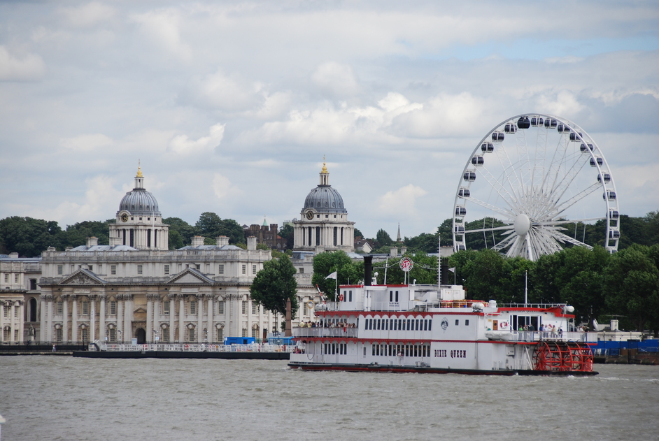 Greenwich Pier - View of Old Royal Naval College in Greenwich