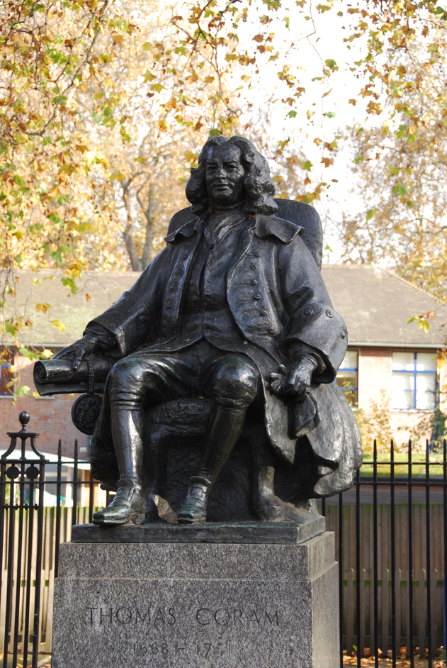 Brunswick Square - Statue Of Thomas Coram Outside The Foundling Museum