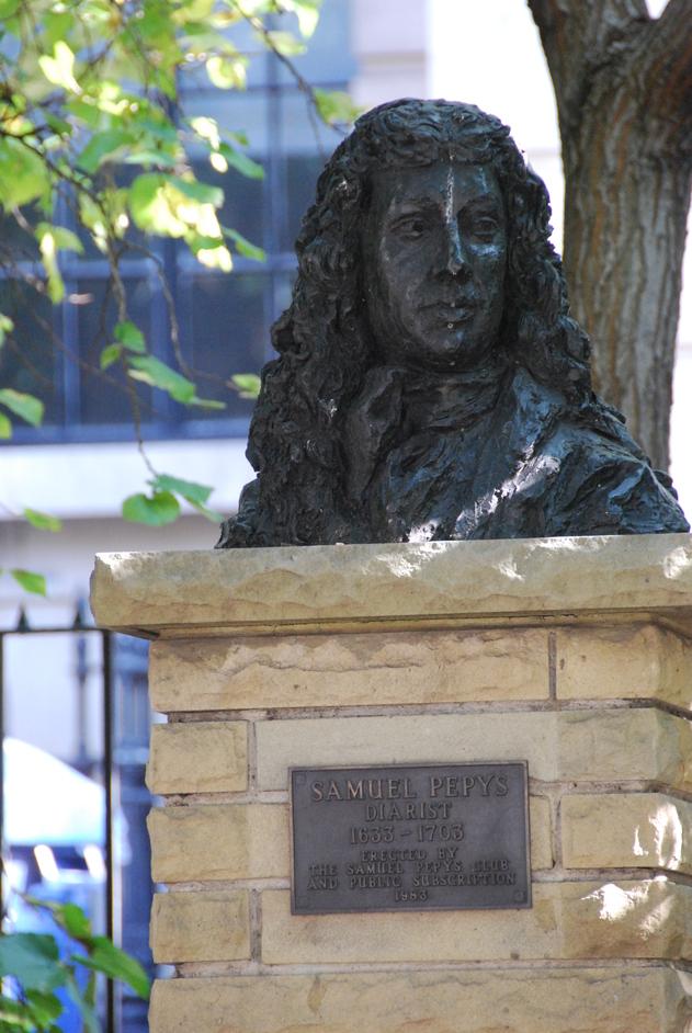 New London Street - Samuel Pepys Bust Outside St Olave's