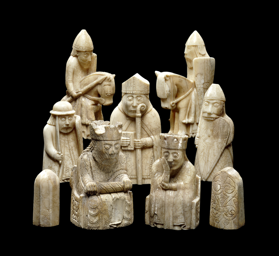 British Museum - The Lewis Chessmen, c 1150-1200 AD; probably made in Norway; found on the Isle of Lewis, Outer Hebrides, Scotland. Copyright The Trustees of the British Museum