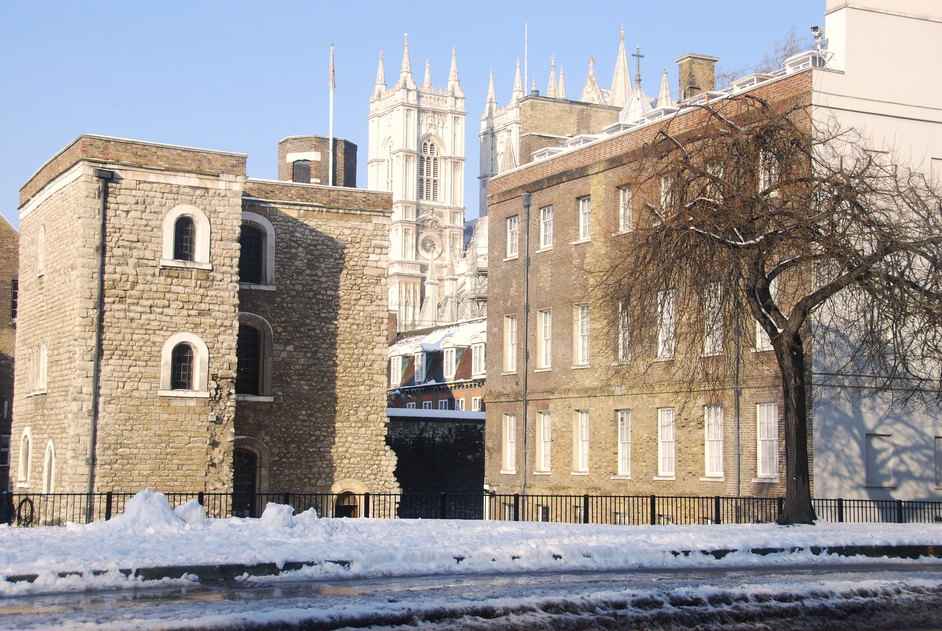 Great College Street - Jewel Tower Exterior With Westminster Abbey In The Background.