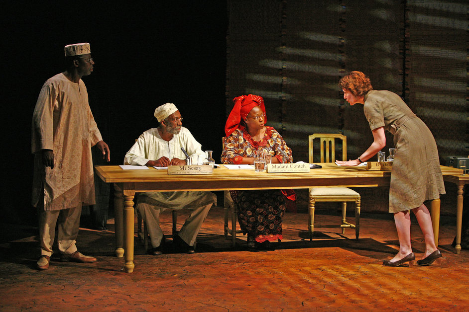 Table - Cyril Nri (Dr Daramy), Louis Mahoney (Mr Sesay), A�cha Kossoko (Madame Conteh) andAnna Chancellor (Fiona Russell)