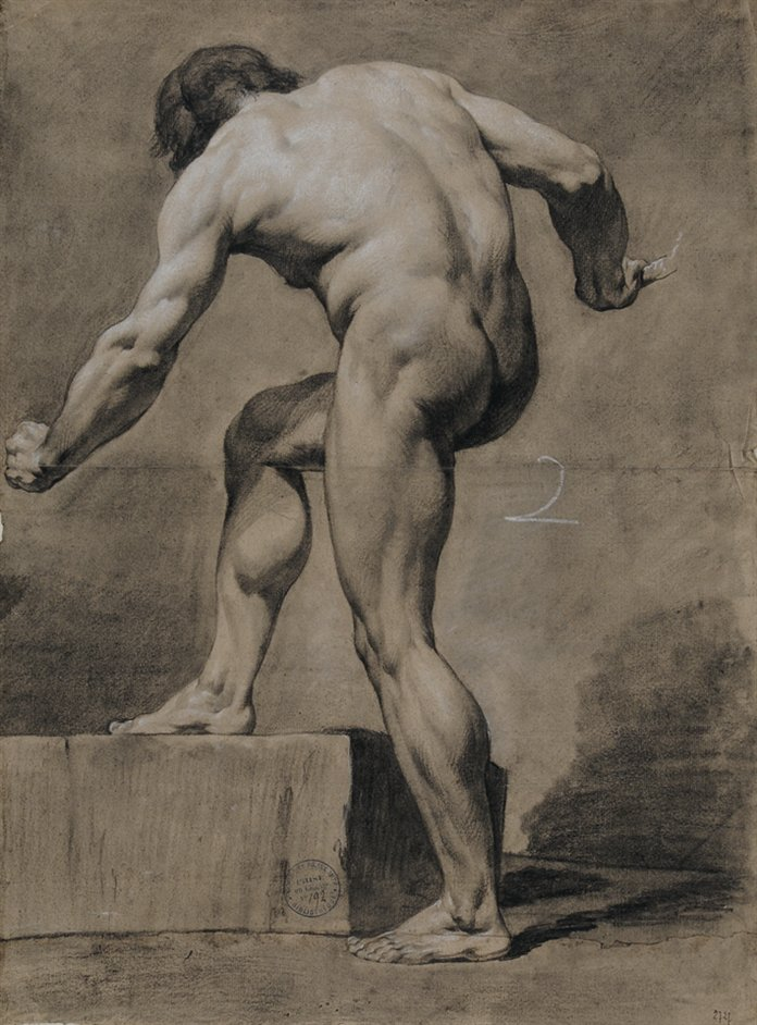 The Male Nude: Eighteenth-Century Drawings From The Paris Academy - Paul Barbier, Man viewed from behind leaning to the left, 1782