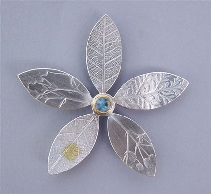 Dazzle@Oxo - Naomi James, moonstone silver flower brooch