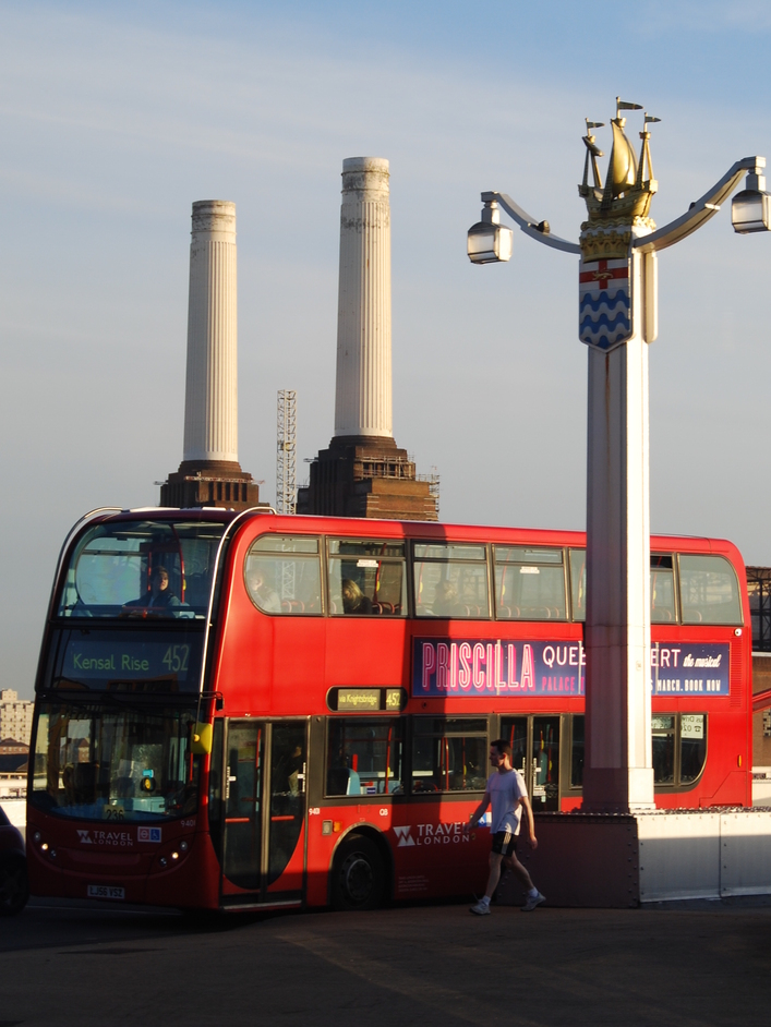 Chelsea Bridge - Chelse Bridge With A London Red Bus & Battersea Power Station In The Background