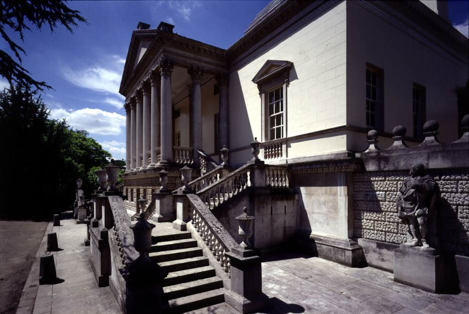 Chiswick House - Entrance steps and portico with statue of Inigo Jones to the right © English Heritage