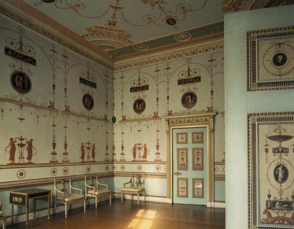 Osterley Park and House - The Etruscan Dressing Room at Osterley Park was designed by Robert Adam and painted by Pietro Maria Borgnis (1739/43-1810) on sheets of paper which were then pasted on canvas and fixed to the ceiling and walls © NTPL / Bill Batten