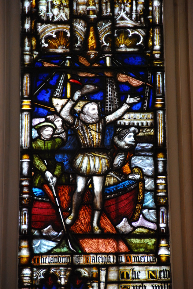 St Margaret's Church - St Margaret's Church Stained Glass Window Depitcting Sir Walter Raleigh