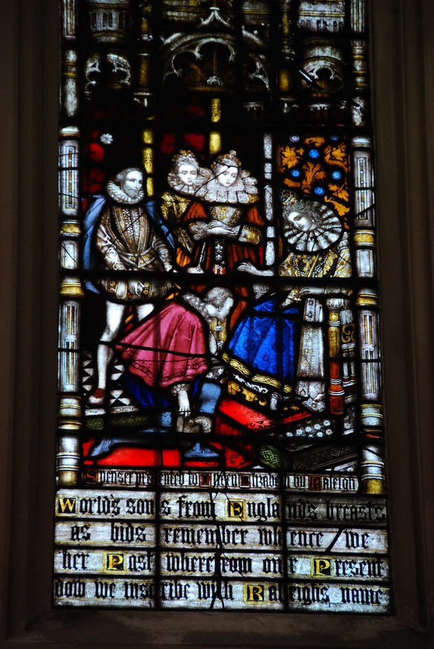 St Margaret's Church - St Margaret's Church Westminster Stained Glass Window Depicting Sir Walter Raleigh & Queen Elizabeth