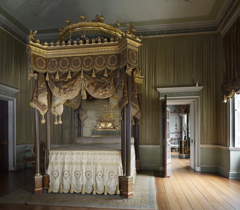 Osterley Park and House - The State Bed designed by Robert Adam in 1776 in the State Bedchamber at Osterley Park. The architectural features of the bed resemble a canopied box that Adam had designed for George III at the Italian Theatre in the Haymarket © NTPL / Dennis Gilbert