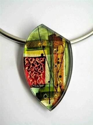 Dazzle - Gail Klevan, Green acrylic choker on metal tubes