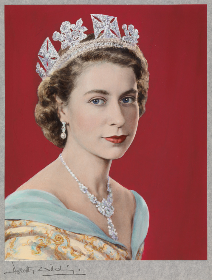 The Queen: Art And Image - Queen Elizabeth II by Dorothy Wilding (Hand-coloured by Beatrice Johnson), 1952. Copyright: William Hustler and Georgina Hustler/ National Portrait Gallery, London