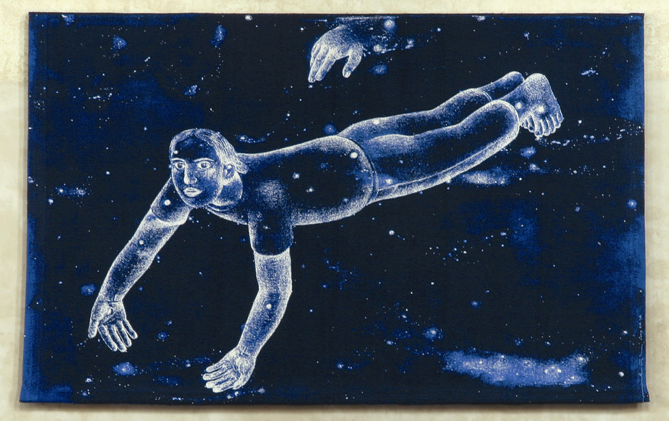 COLLECT - Janpeter Muilwijk, Floating Man, 2009. Image Credits: Silk, linen, Jacquard woven tapestry, Courtesy Flatland Gallery, Photo Jan Tregot