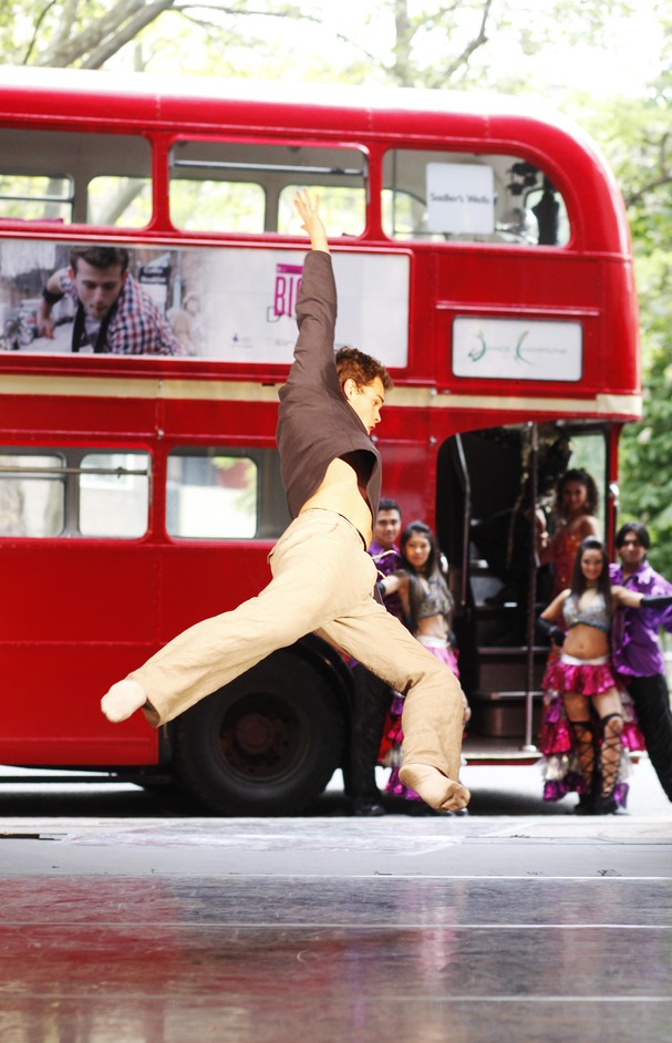 Big Dance - Contemporary dancer James Wilton performs at the launch of the T-Mobile Big Dance Bus at Sadler's Wells © David Parry/ PA