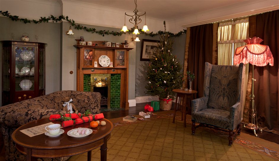 Christmas Past - A drawing room in 1910 at Christmas Past, photo by Morley von Sternberg