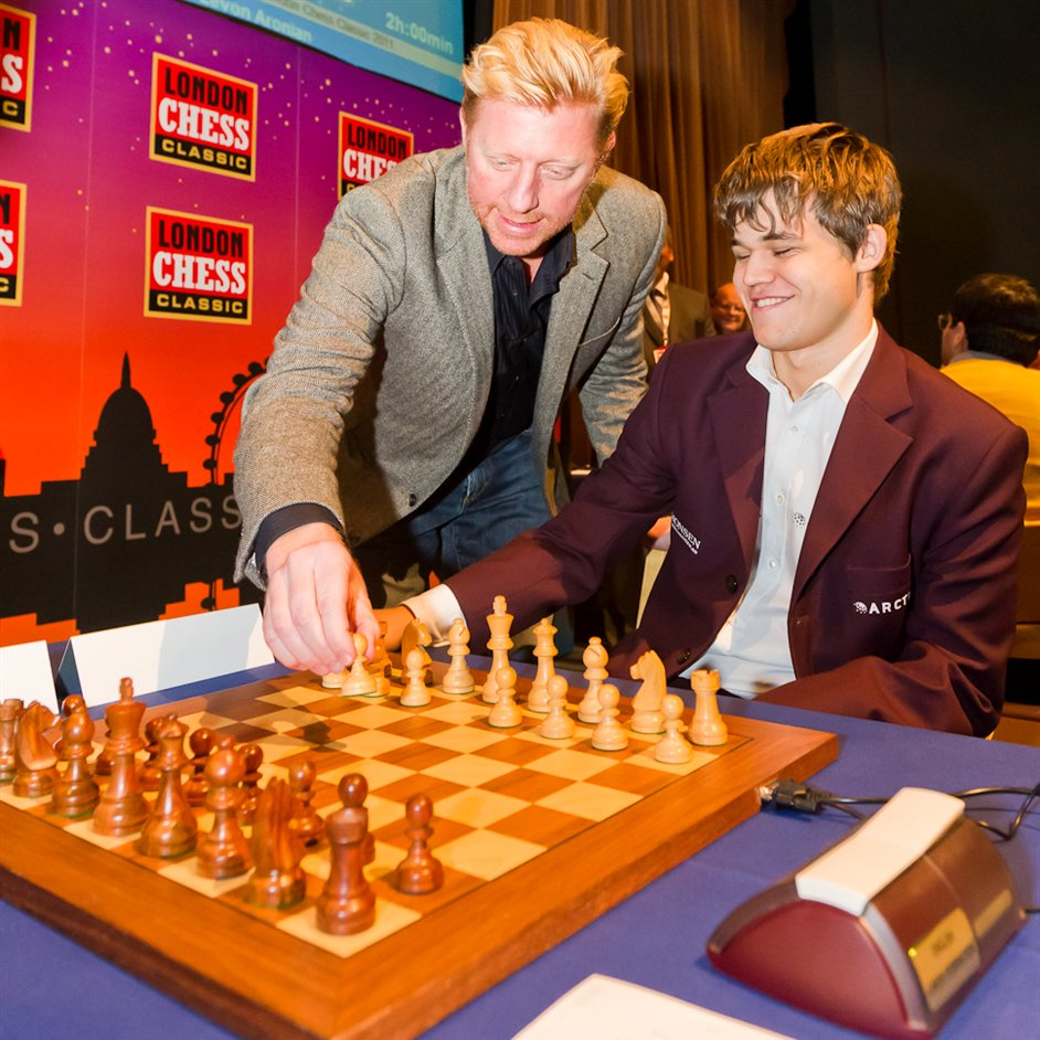 London Chess Classic - Boris Becker and Magnus Carlsen at the London Chess Classic in 2011