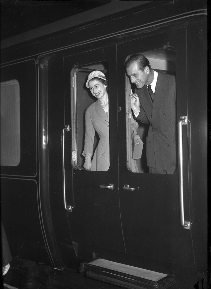 The Queen: Sixty Photographs for Sixty Years - The Queen and The Duke of Edinburgh arriving at Derby Midland Station, March 1957. Photograph: (c) Derby Telegraph