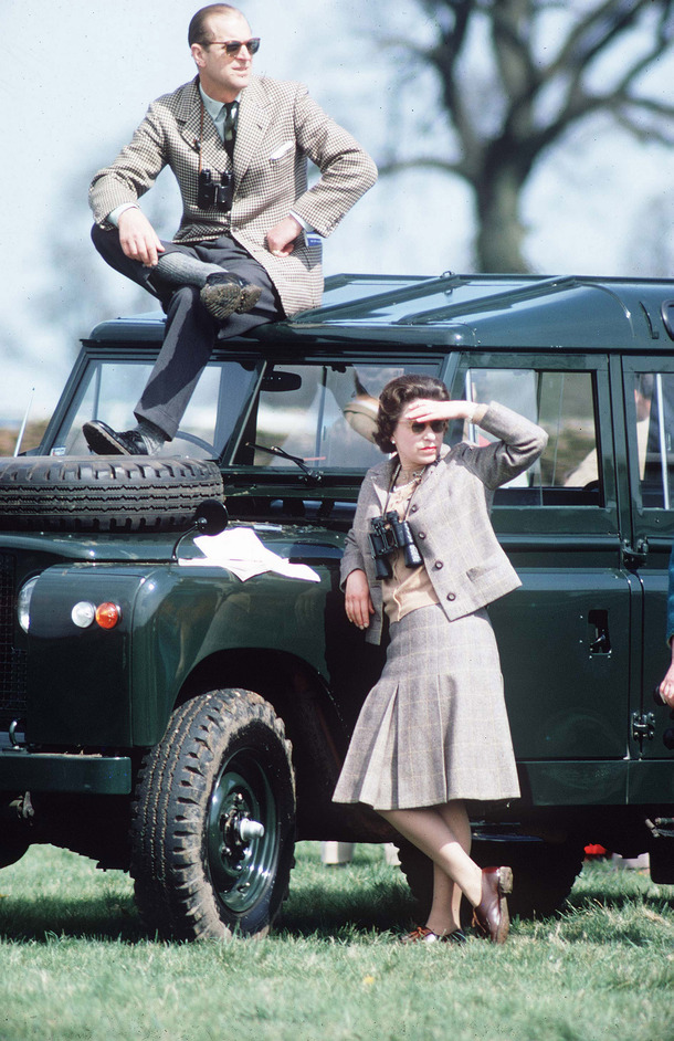 The Queen: Sixty Photographs for Sixty Years - The Queen and The Duke of Edinburgh at Badminton Horse Trials, 20 April 1968. Photograph: John Scott, (c) Alpha Press