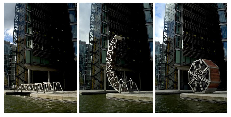 Heatherwick Studio: Designing The Extraordinary - Rolling Bridge, Paddington Basin, London, UK 2004 © Steve Speller
