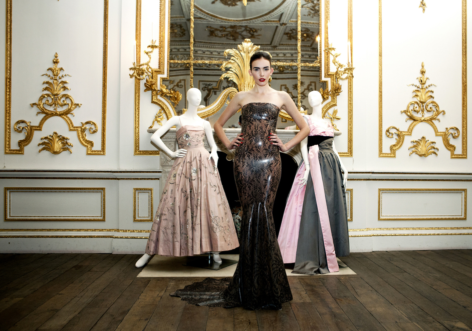 Ballgowns: British Glamour Since 1950 - Atsuko Kudo, worn by Georgia Frost with dresses by Hardy Amies and Worth of London