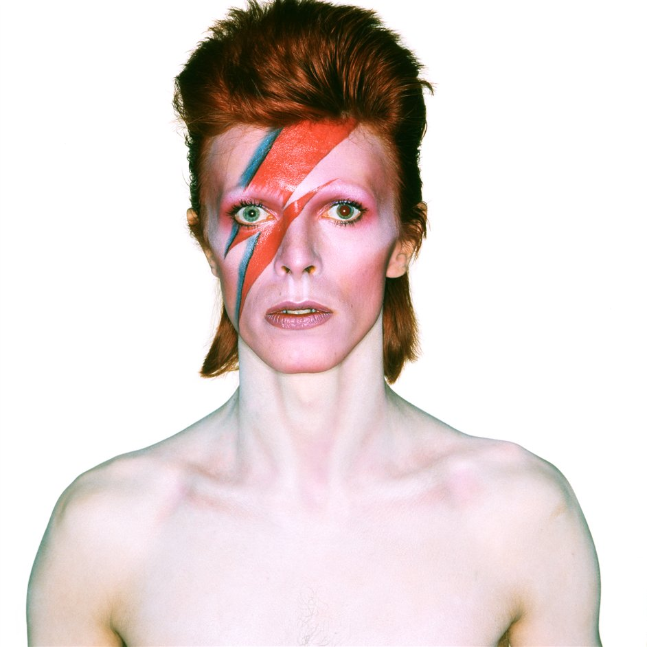 David Bowie Is - Album cover shoot for Aladdin Sane 1973. Photograph by Brian Duffy © Duffy Archive