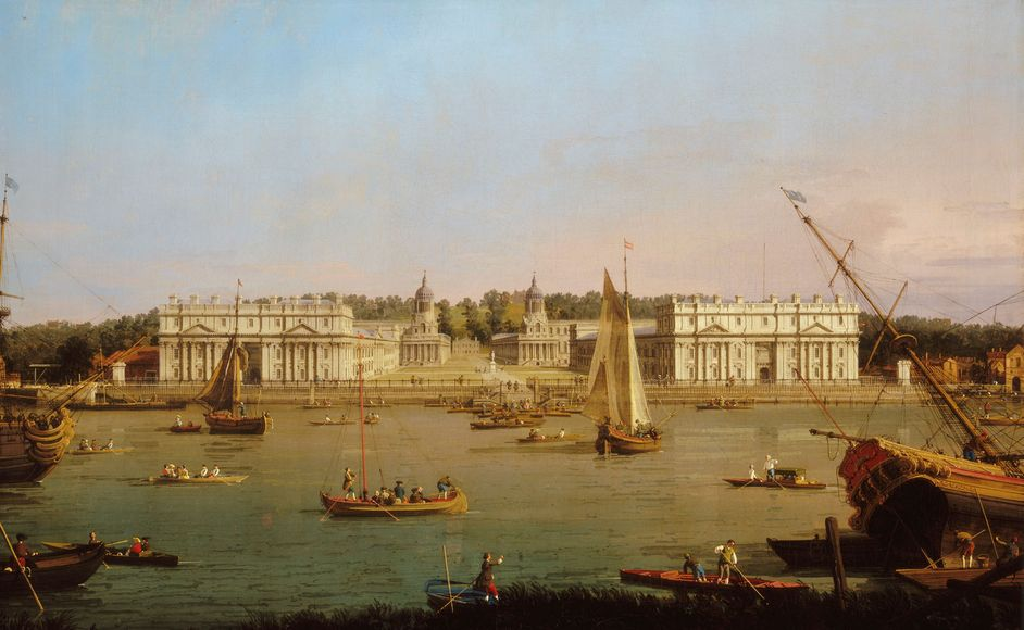 Royal River: Power, Pageantry and the Thames - Greenwich Hospital from the north bank of the Thames, Canaletto, 1750 -52 © National Maritime Museum, London