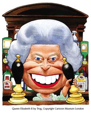 Her Maj: 60 Years of Unofficial Portraits of the Queen - The Queen, 2002 by Wally Fawkes (Trog) © Cartoon Museum
