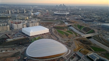 London 2012 Olympic Park - Aerial view over the Olympic Park  by Jason Hawkes, Rex Features