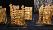 Portobello Film Festival - Golden Trellick awards modelled Trellick Tower by street artist Zeus
