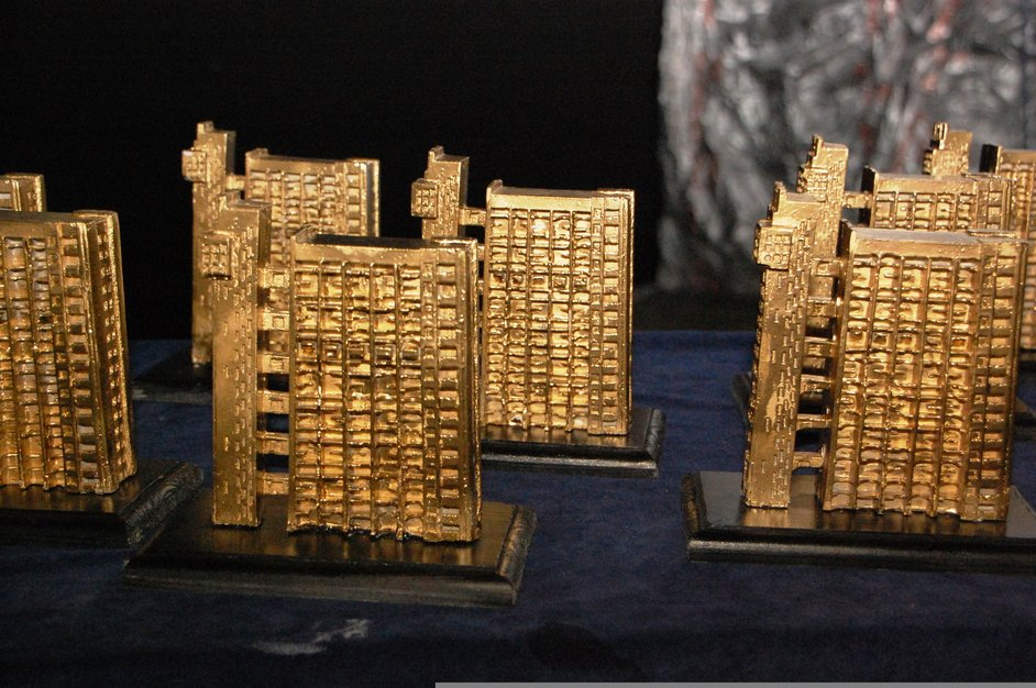 Portobello Film Festival - Golden Trellick awards modelled Trellick Tower by street artist Zeus
