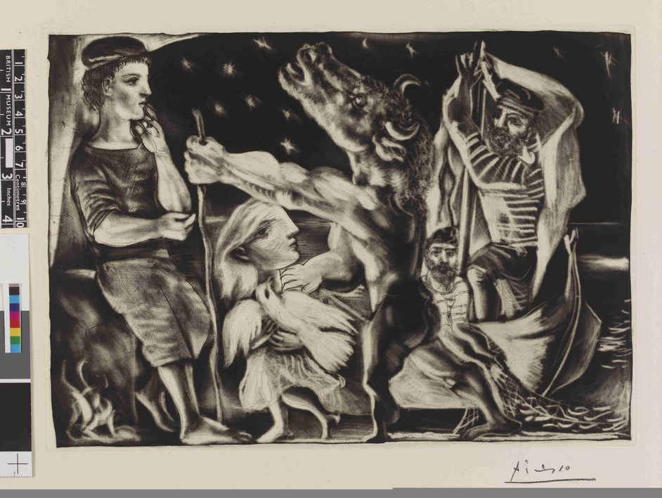Picasso Prints: The Vollard Suite - Blind minotaur being led by a little girl (resembling Marie-Therese) with a pigeon in a starry night; plate 97 of the Vollard Suite (VS 97). 3-7 December and 31 December 1934.Copyright of Succession Picasso/DACS 2011