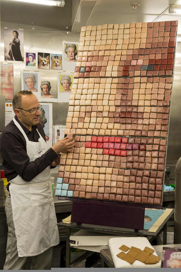 Diamond Jubilee Festival at Battersea Park - Gerhard Jenne of Konditor & Cook preparing a portrait of The Queen made out of 3,120 cakes. Photo Credit Ken McKay