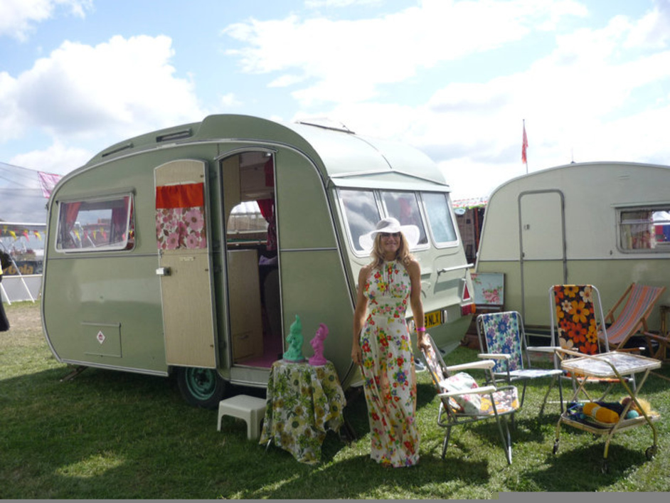 Diamond Jubilee Festival at Battersea Park - The Frilly Knicker, Anna Bunting's 1975 Carlight Casalette Caravan, is taking part in the Classic Car Boot Sale.